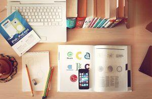 notebook, workplace, desk